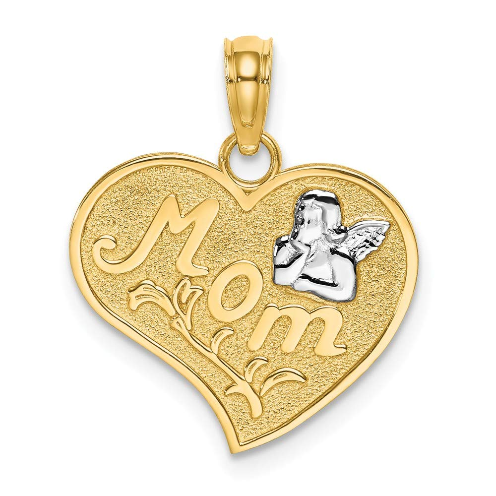 14k Yellow Gold with White Rhodium-Plated Mom /& Angle Heart Charm Pendant
