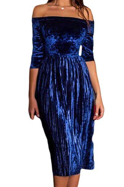 Las Mujeres Vestido De Terciopelo del Hombro Plisado Vendaje Vestidos De Midi Azul XS