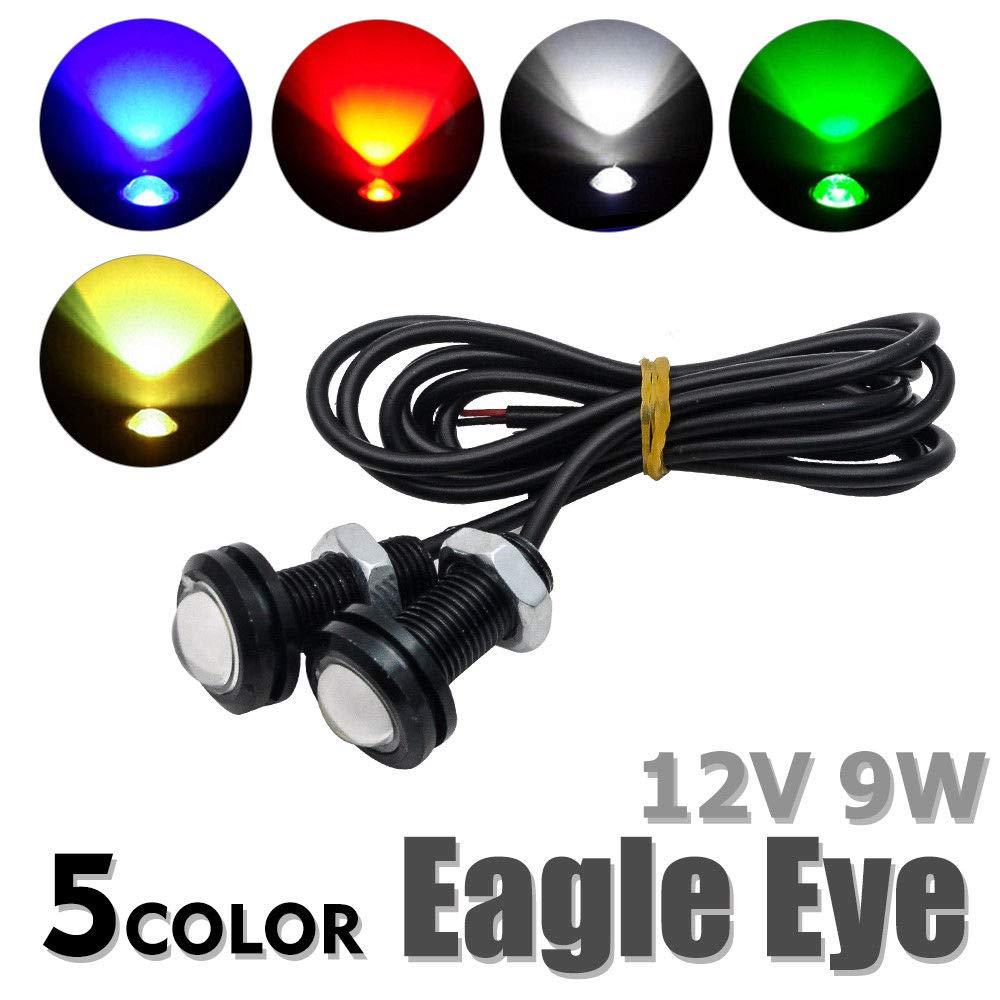 Maso 2 Pcs 12V 9W Car Daytime Running DRL Tail Light Backup Lamp Reversing with Screw For Motorcycle Cars Blue LED Eagle Eyes