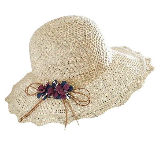 Là Vestmon Moda Mujeres Girls Wide Brim Floppy Sombrero con Lazo de ...
