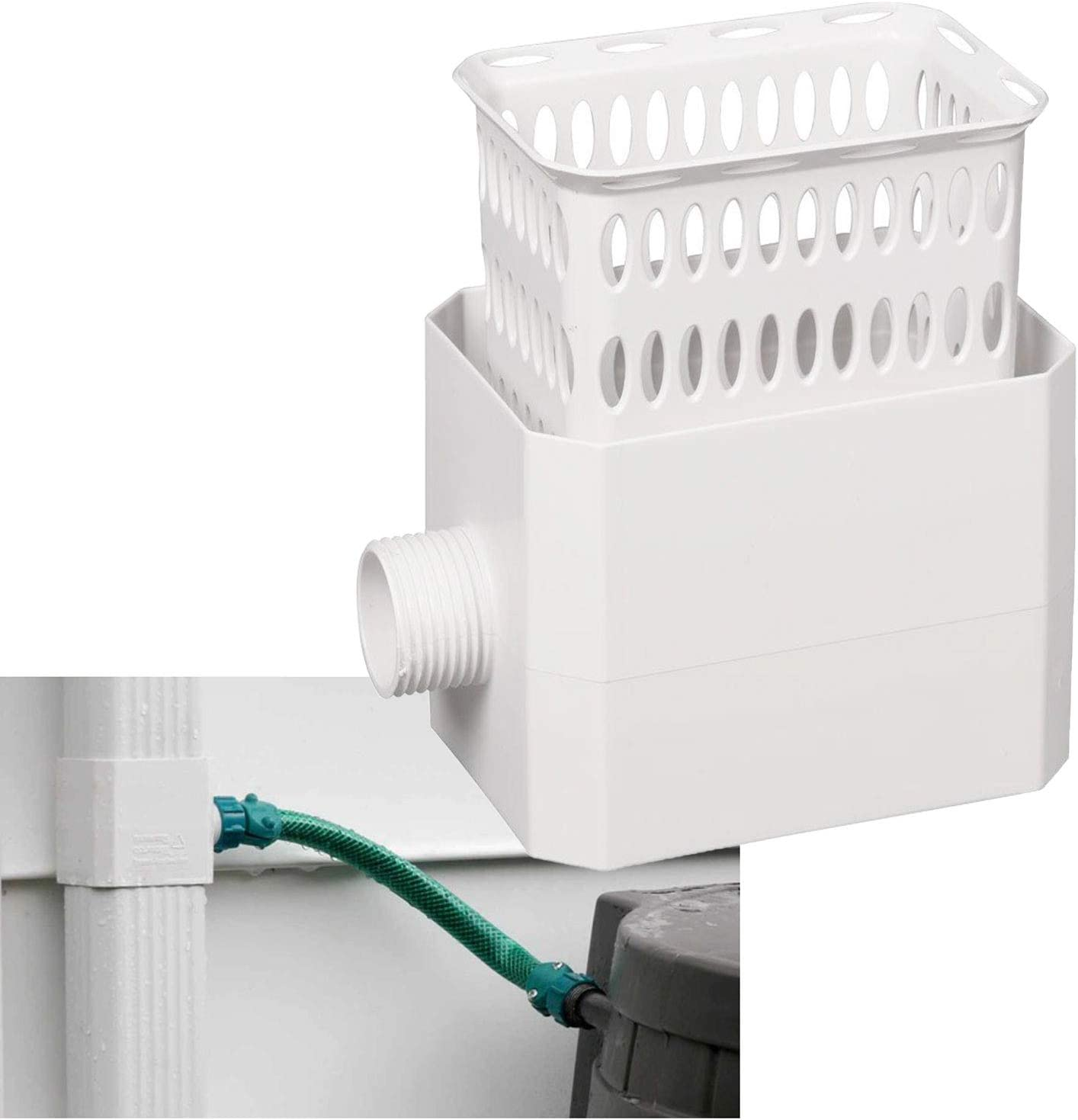 Downspout Rainwater Collection Diverter Connector System Colander with Filter 2x3-in, White