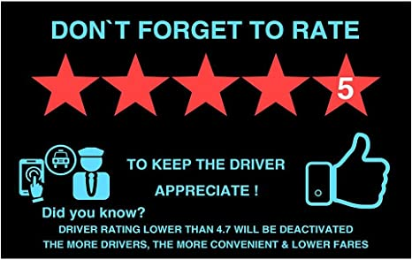 Two Uber Lyft Rideshare 5 Stars Rating Decal Logo Sign Display Cards