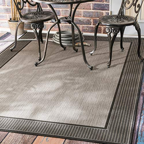 "nuLOOM Alana Border Outdoor Rug, 7' 6"" x 10' 9"", Grey"
