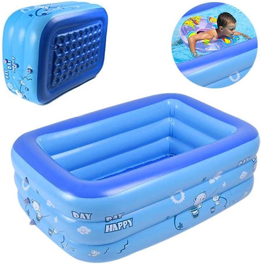 KELEQI Family Pool Deluxe, Rectangular Piscina para Niños, Fácil De Montar, Azul, 150X110x50 Cm