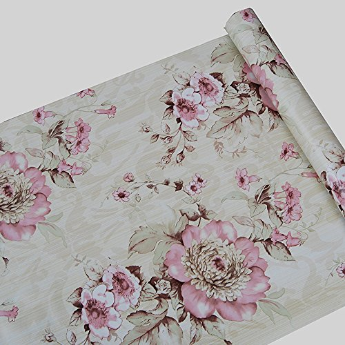 (F&U Large Roll Self Adhesive Floral Contact Paper Shelf Liner for Kitchen Drawers Cabinets Shelves Table Arts and Crafts Wall Decal (45x1000cm,Pink))