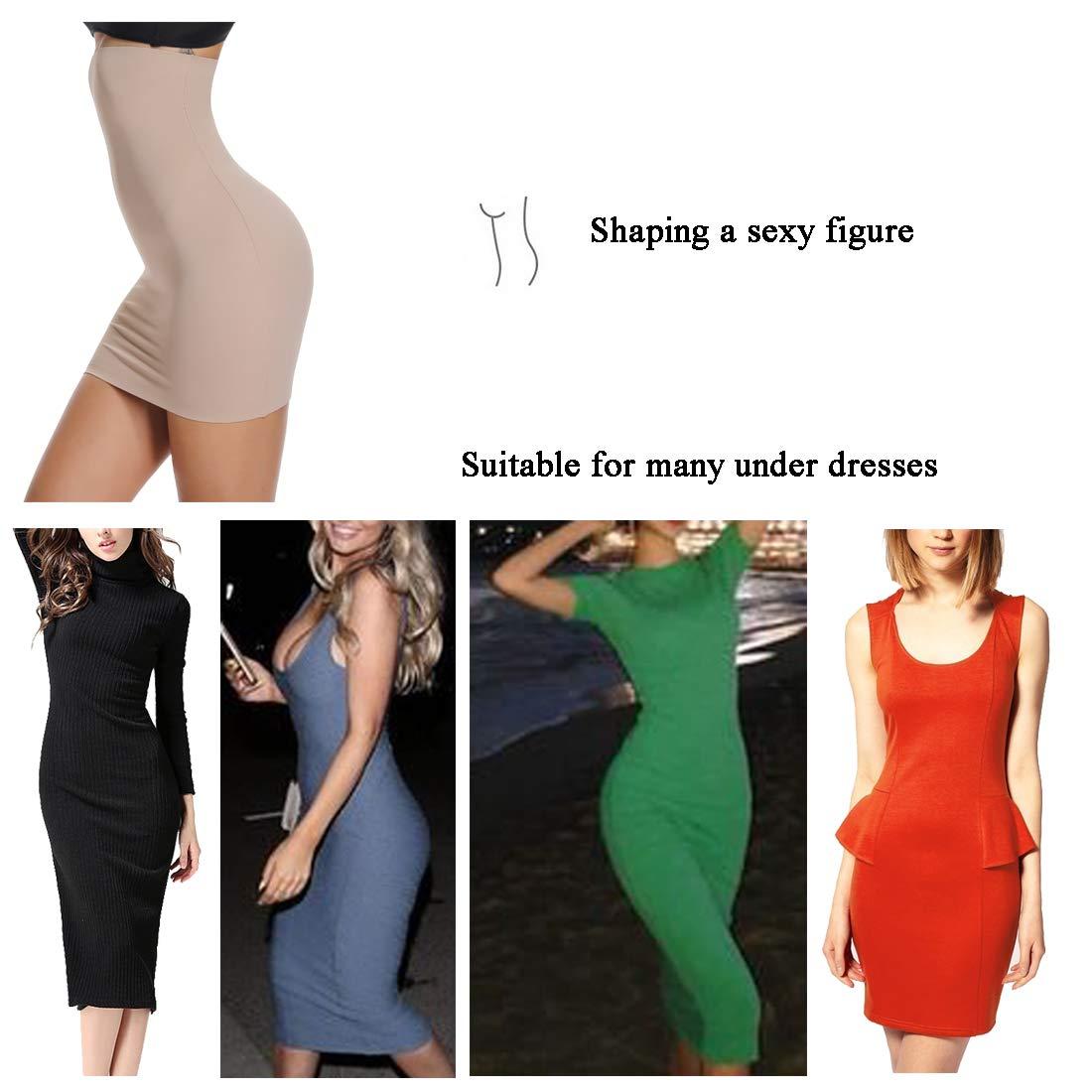 WOWENY Half Slips for Women Under Dress Tummy Control Shapewear Seamless High Waist Slimming Skirts