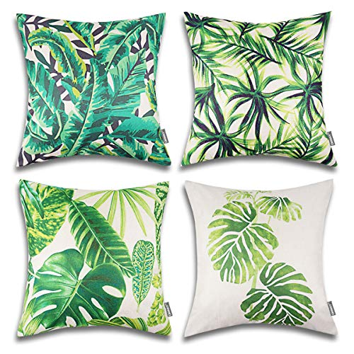 (ONWAY Palm Leaf Decorative Throw Pillow Covers 18x18 Tropical Party Decorations for Sofa, Couch and Patio, Set of 4)