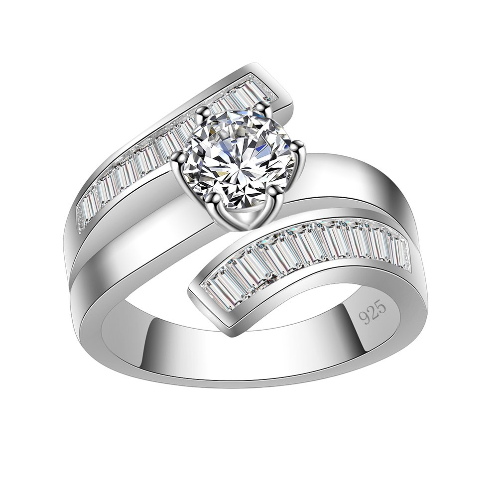 Lavencious Luxury Clear Baguette-cut CZ Statement Ring Band 925 Sterling Silver for Wedding (Silver, 7)