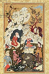 Prince visiting an Ascetic, from the book of Love, Safavid Dynasty (Gouache on Paper) (283309), Póster, 60 x 90 cm