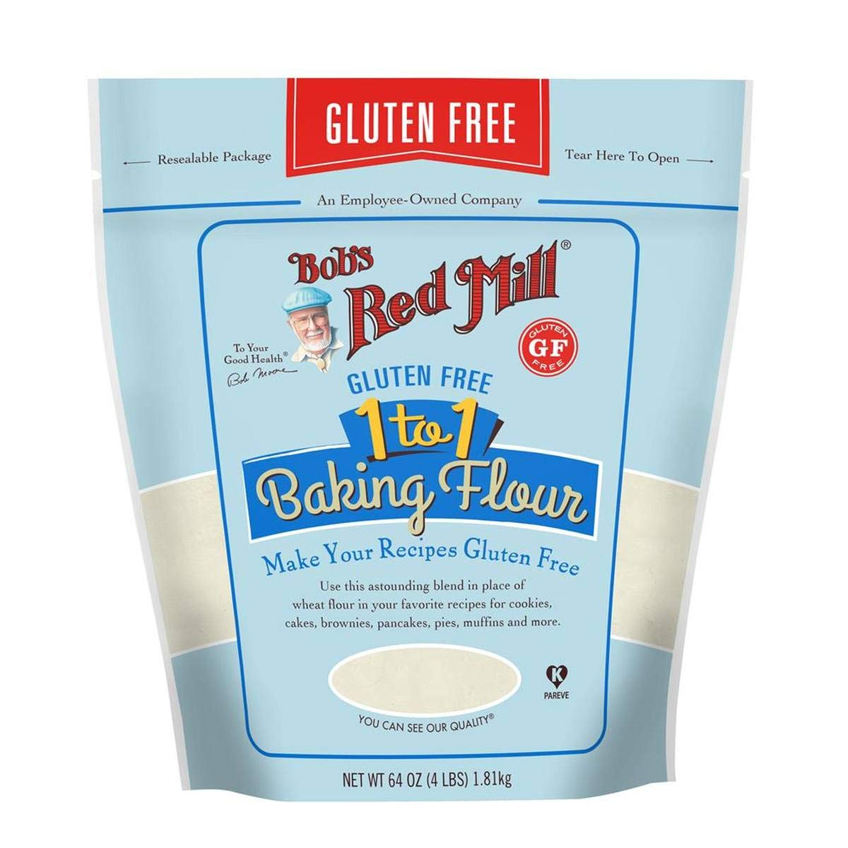 Bob's Red Mill Resealable Gluten Free 1-to-1 All Purpose Baking Flour, 64 Oz (4 Pack) by Bob's Red Mill