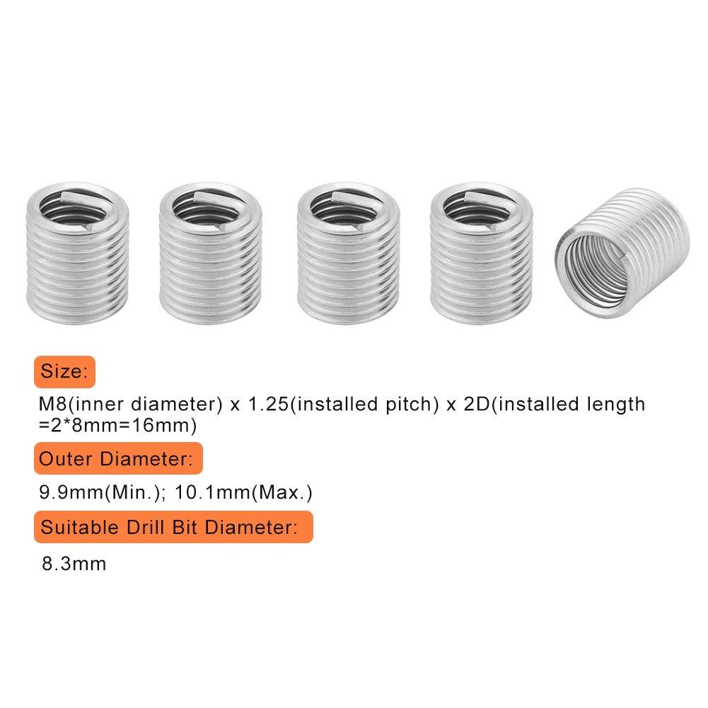 100 Helical Gewinde fügt, 304 Edelstahl gewickelten Draht Helical ...