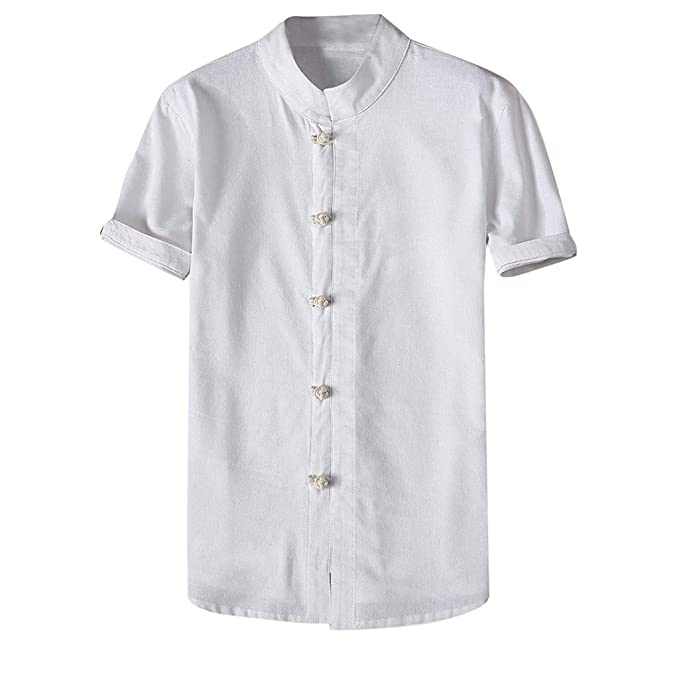 da09d52df9 Camicia Uomo Lino Tinta Unita Slim Casual Shirt Zarupeng-Moda Uomo ...