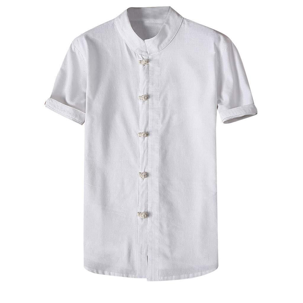 Shirt for Men, F_Gotal Men's T-Shirts Fashion Summer Short Sleeve Retro Chinese Style Linen Sport Tees Blouse Tops White