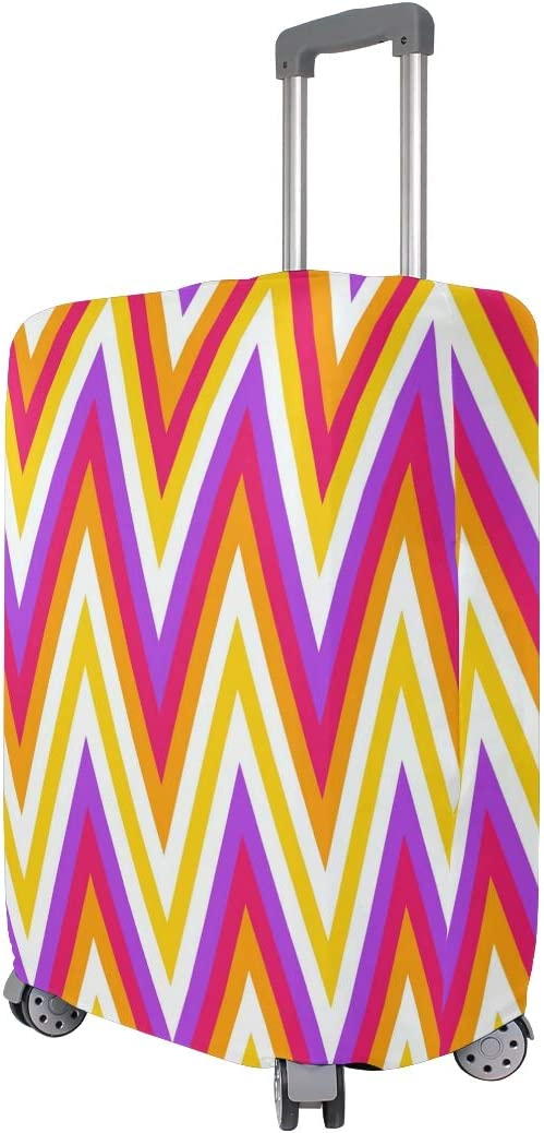 Cute Colorful Chevrons Print Luggage Protector Travel Luggage Cover Trolley Case Protective Cover Fits 18-32 Inch