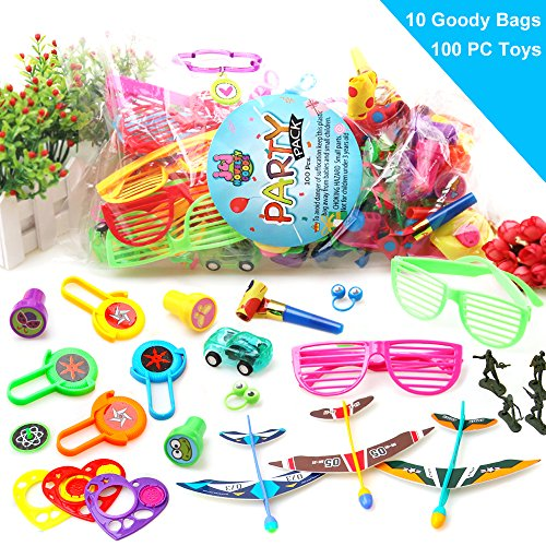 JJ Novelty Goods 100-Piece Kids Party Favors, Goody Bags, Pinata Fillers and Classroom Prize Toy Assortment With Plan The Ultimate Party - Be Ball The Sunglasses
