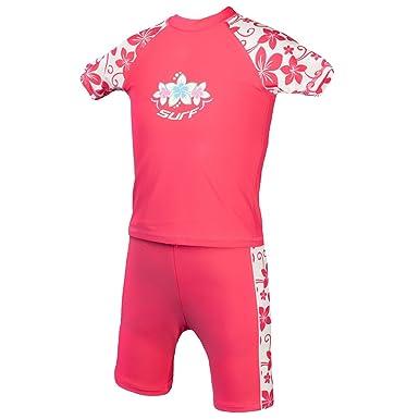9b3c5f2947 Kidz Swimmers Girls UV Sun Protection Rash Vest and Swim Shorts UPF 50+  Camelia Rose: Amazon.co.uk: Clothing