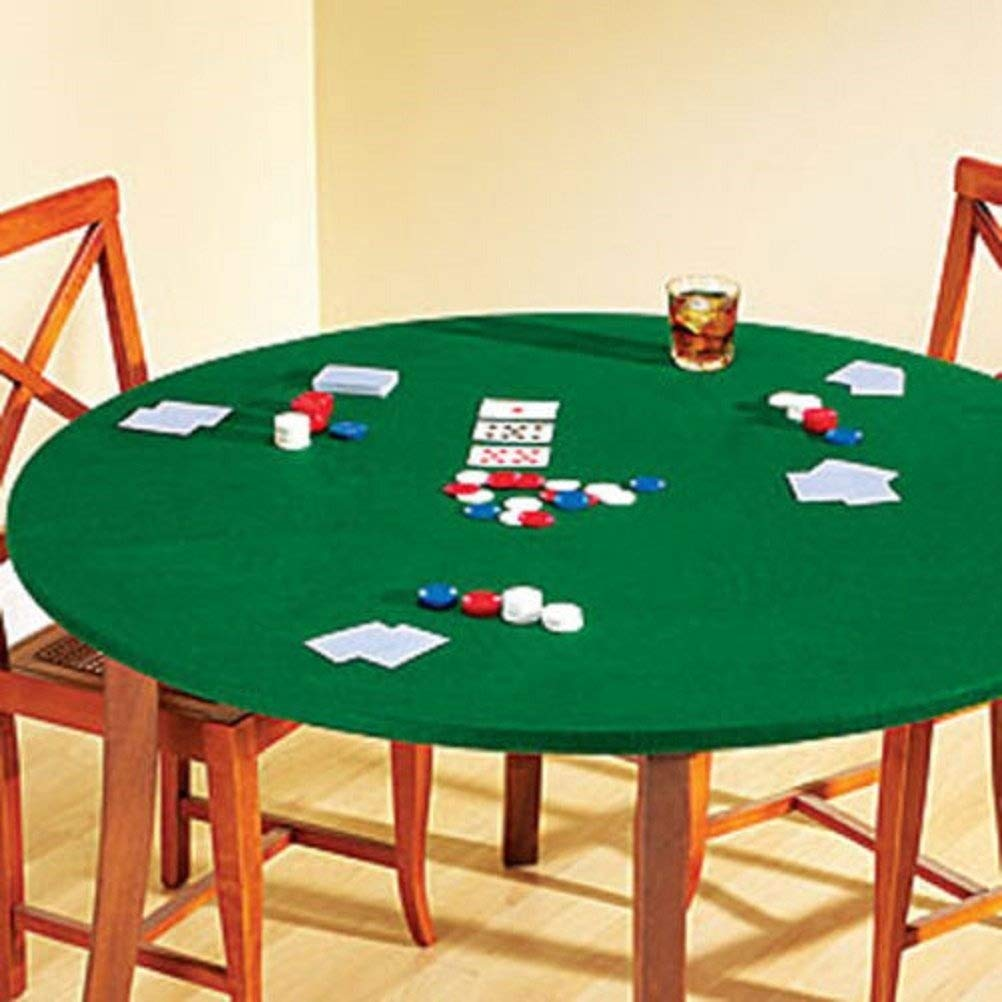 Fitted Round Elastic Edge Solid Green Felt Table Cover for Poker Puzzles Board Games Fits 36'' to 48'' Also Fits 36'' Square