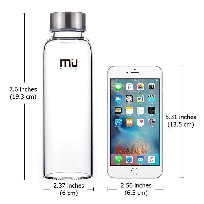 MIU COLOR® Élégante bouteille en verre portable 360 ml Gourde avec sac en  nylon bleu foncé  Amazon.fr  Cuisine   Maison 12e23958b574