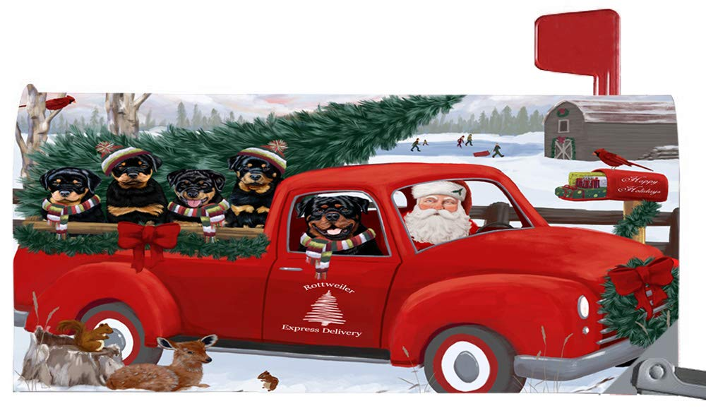 Doggie of the Day Magnetic Mailbox Cover Christmas Santa Express Delivery Rottweilers Dog MBC48344