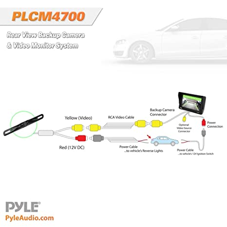 pyle plcm7500 wiring diagram pyle image wiring diagram amazon com pyle plcm4700 car vehicle rearview backup camera on pyle plcm7500 wiring diagram