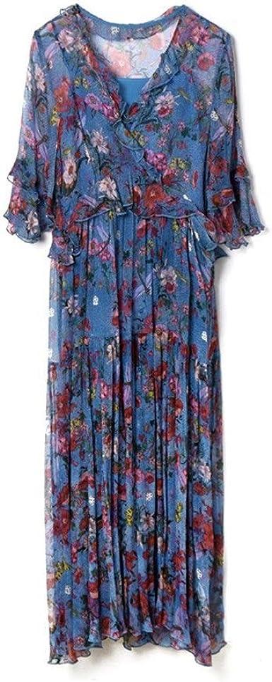 Aqua Azul Romántico con Cuello En V Vestido De Seda Verano ...