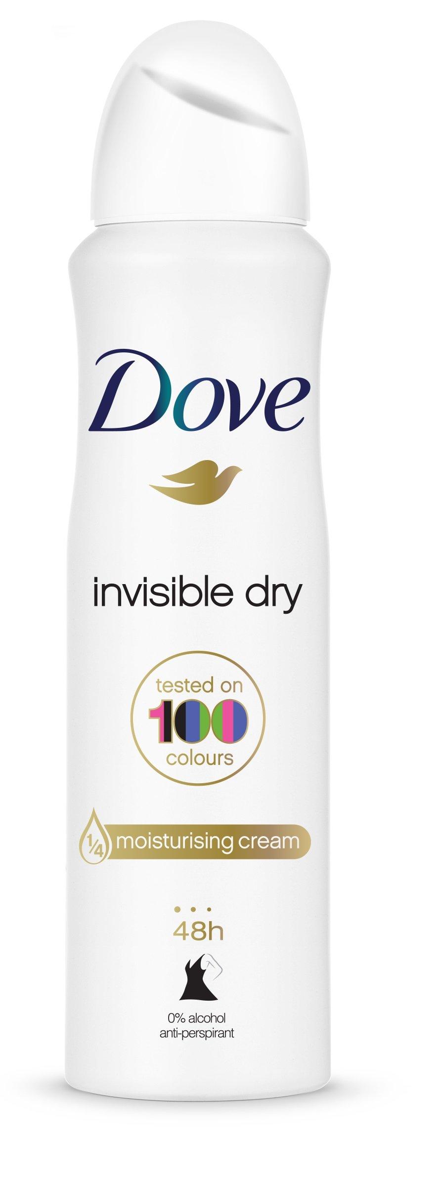 Dove Invisible Dry Desodorante Antitranspirante Aerosol Antimanchas en 100 colores 0% Alcohol