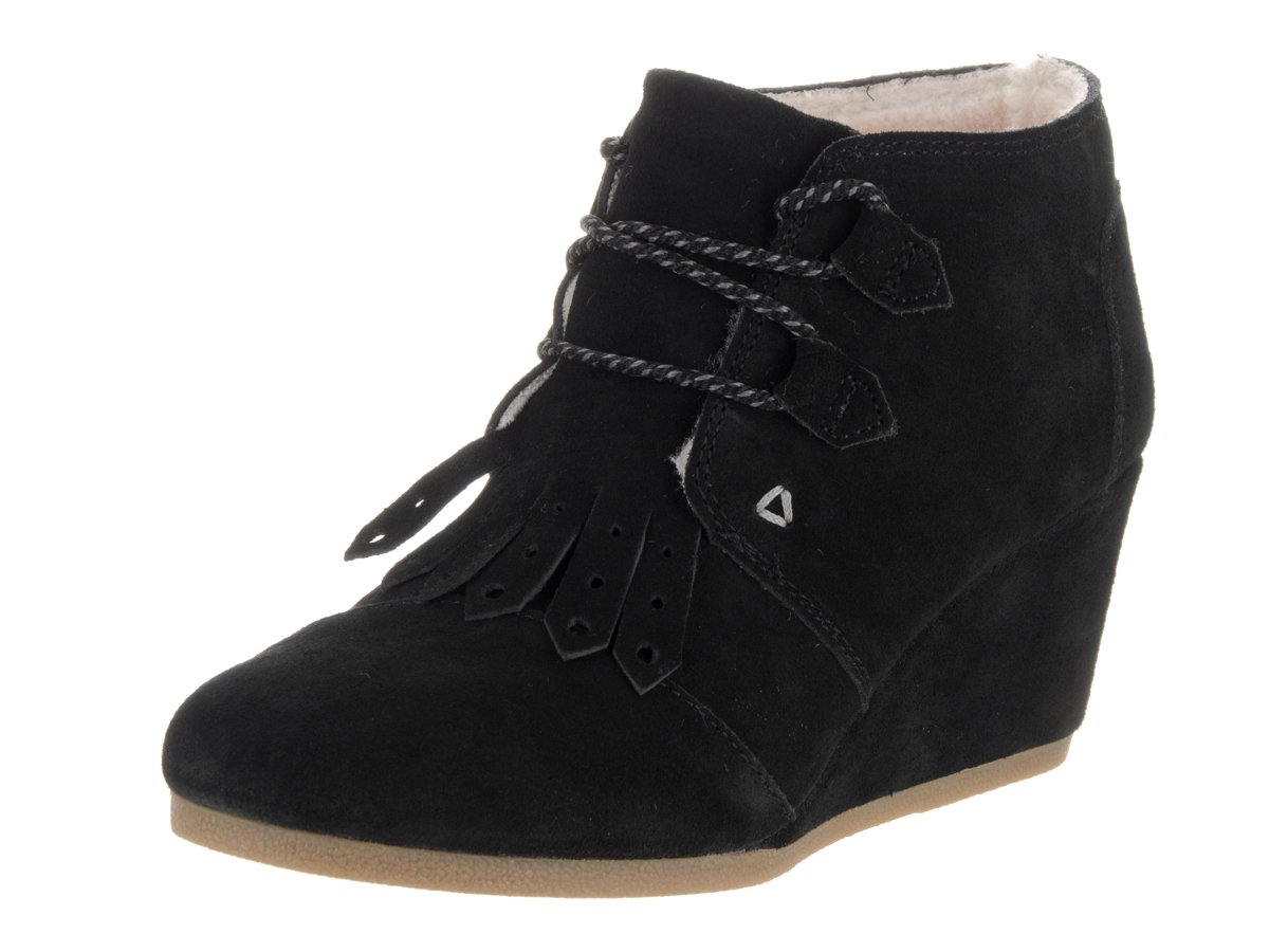 TOMS Women's Desert Wedge Black Suede/Kiltie/Shearling Boot 9.5 B (M)