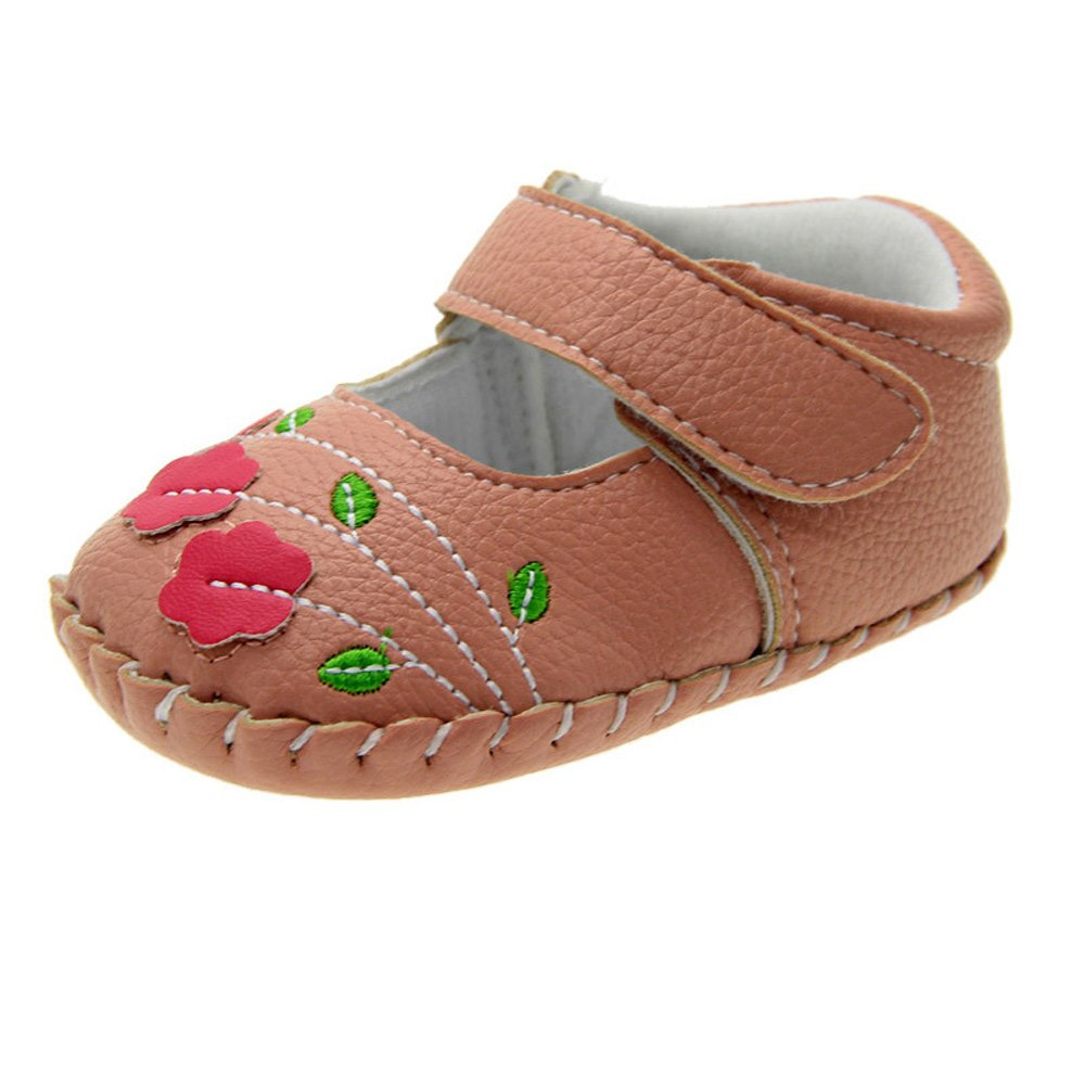 Kuner Baby Girls Pu Leather Embroidered Soft Bottom Non-Slip Princess Shoes First Walkers Shoes KR-8013
