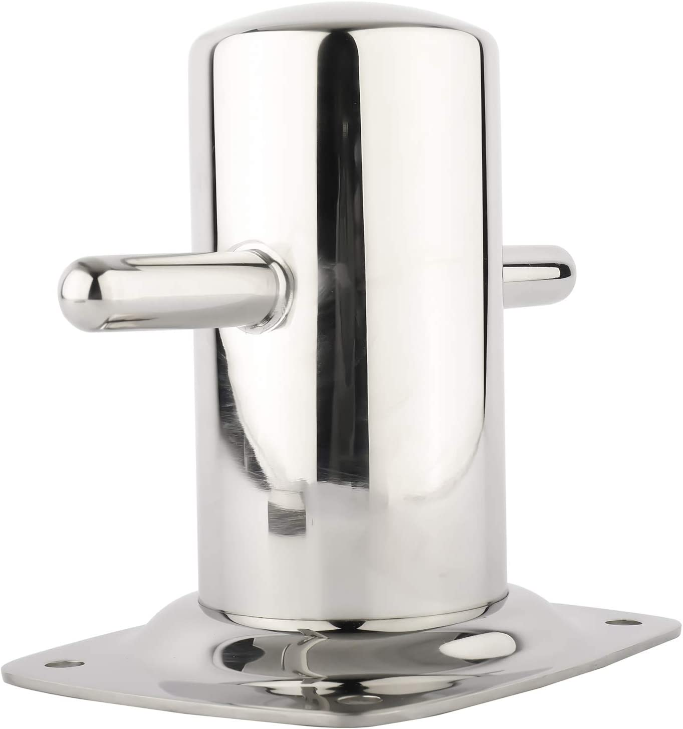 DasMarine Bollard with Base Plate,2-3//4 Dia Bollard Cleat Mooring Bit with 4.65 x 5.51 Base Plate,316SS Cleat for Dock