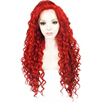 Ebingoo Free Part Red Curly Synthetic Lace Front Wig Glueless Heat Resistant Natural Wavy Lace Front Wig for Women N18 3100