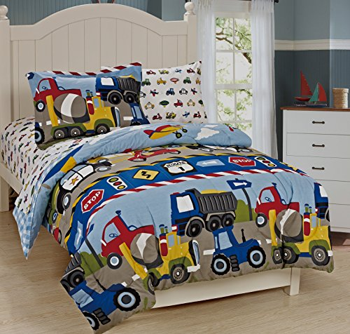Mk Collection Full Size Trucks Tractors Cars Kids/boys 7 Pc Comforter and Sheet Set Blue Red Yellow New (Planes Full Size Bedding Set)