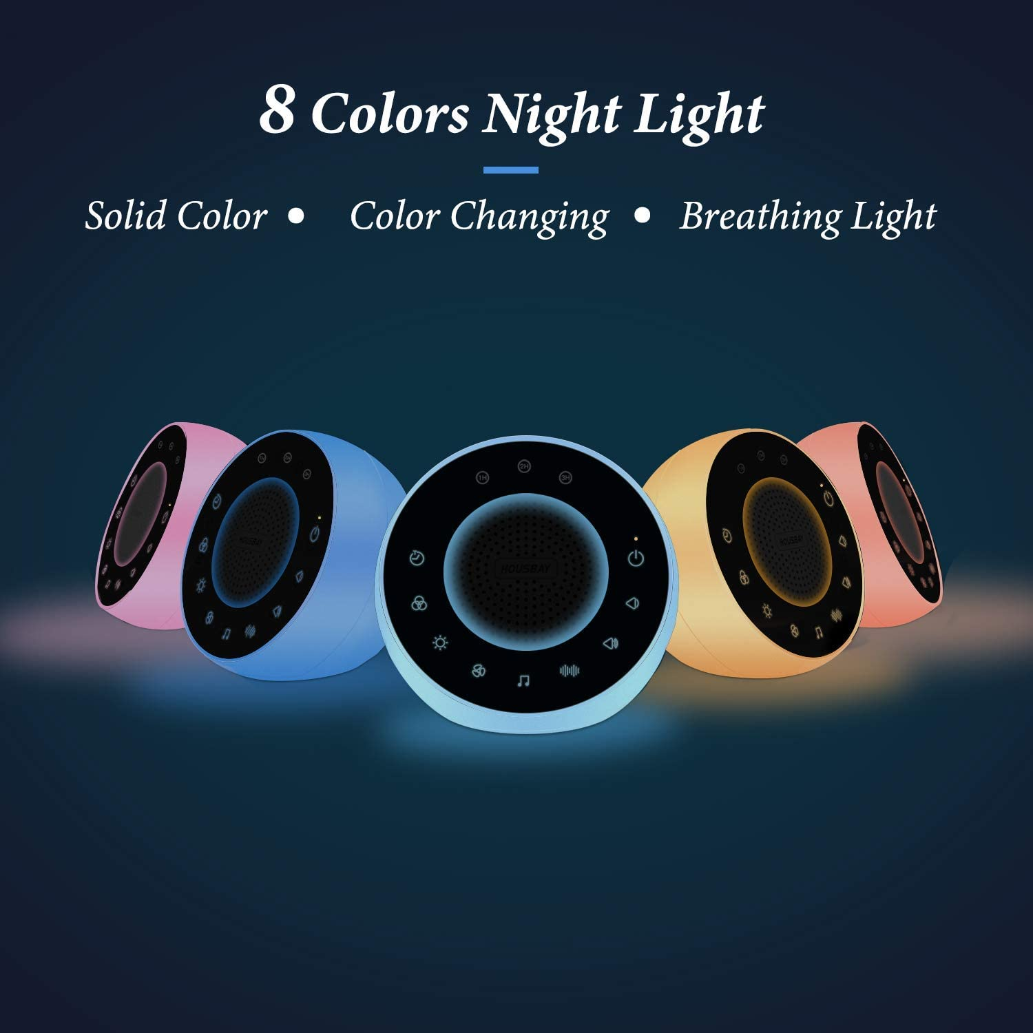 White Noise Sound Machine - Night Light for Soothing Sounds for Sleeping, Relaxation