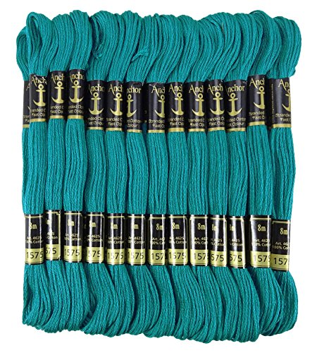 Anchor Threads Stranded Cotton Hand Embroidery Thread Floss Pack of 25 Skeins-Teal Blue