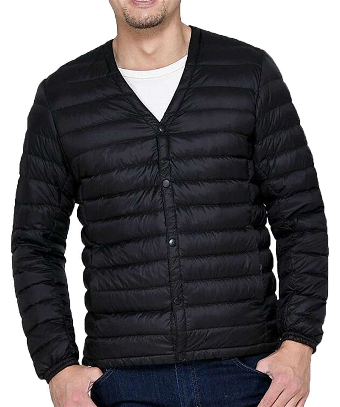 Rrive Men Winter Collarless Warm Packable Lightweight Short Buttons Down Puffer Jacket