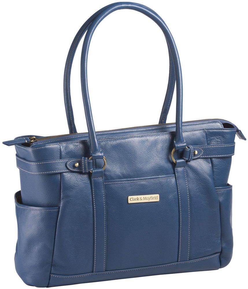 Clark & Mayfield Hawthorne Leather 17.3'' Laptop Handbag (Blue)