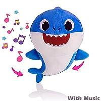 Baby Shark Jouets en Chantant Peluche Poupée, avec Doux Musique Sonore Chanson Anglais Peluche Cadeaux et Jouets Enfants pour Garçon Fille, 3 Couleurs au Choix