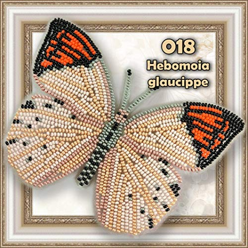 Butterfly Bead Embroidery kit Counted Beaded Cross Stich Beading on Plastic Canvas Bead Pattern Needlework Counted Glass Beads Kits Perle (018) (Beaded Canvas)