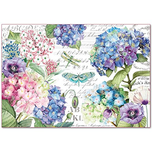 Stamperia Decoupage Rice Paper 48x33 Hortensias and dragonflies