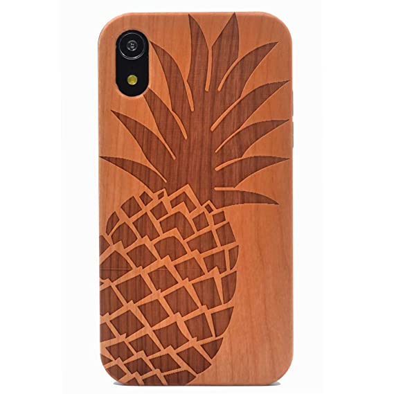 new styles 80129 a2690 iPhone XR Case, Wood Case Pineapple Handmade Carving Real Wood Case Wooden  Case Cover with Soft TPU Back for Apple iPhone XR (2018)
