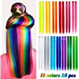 26 Pack Colored Party Highlights Clip in Hair Extensions for Girls 20 inches Multi-colors Straight Hair Synthetic…
