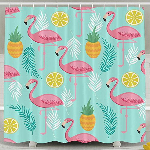 SARA NELL Shower Curtain Pink Flamingo and Pineapple Mint Blue Bath Curtain Waterproof Polyester Fabric Bathroom Decor Set with Plastic Hooks-72 X 72 Inches (Flamingo Coral)