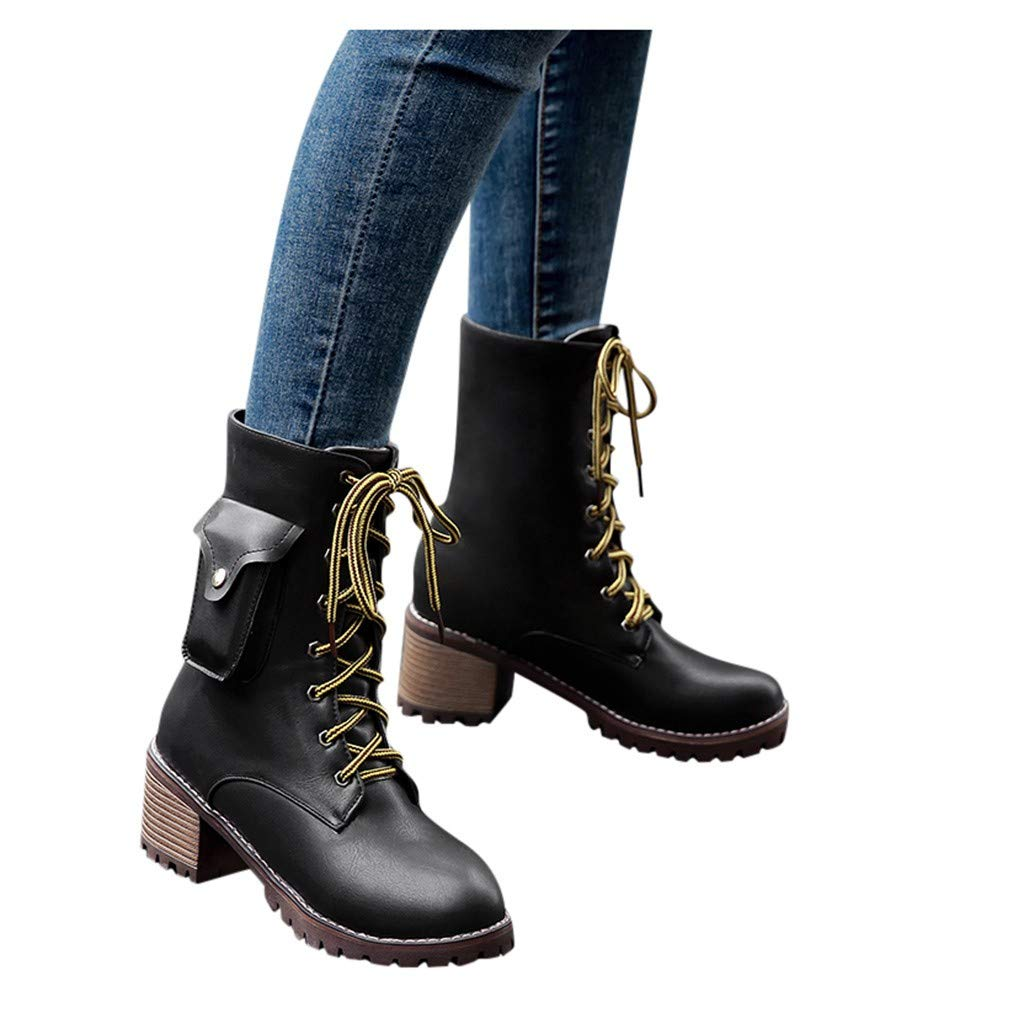 Women Heated Warm Boots Insulated Electric Oxfords Lace up Short Boots Outdoor Stacked Heel Combat Riding Boots (US:8, Black) by Dasuy