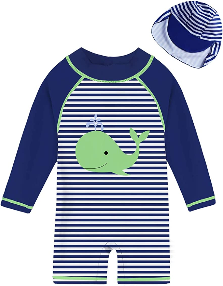 uideazone Toddler Baby Boys Long Sleeve One Piece Swimsuit Rash Guard with Sun Hat UPF 50+ Sun Protection 3-24M