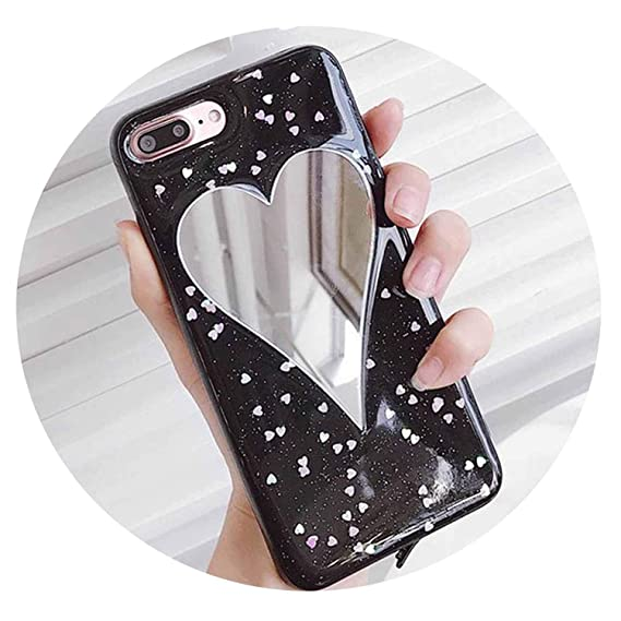 2c98467404 Image Unavailable. Image not available for. Color: for iPhone 6 6S Plus 7  7Plus Case Coque DIY Glitter Powder Heart Mirror Soft TPU