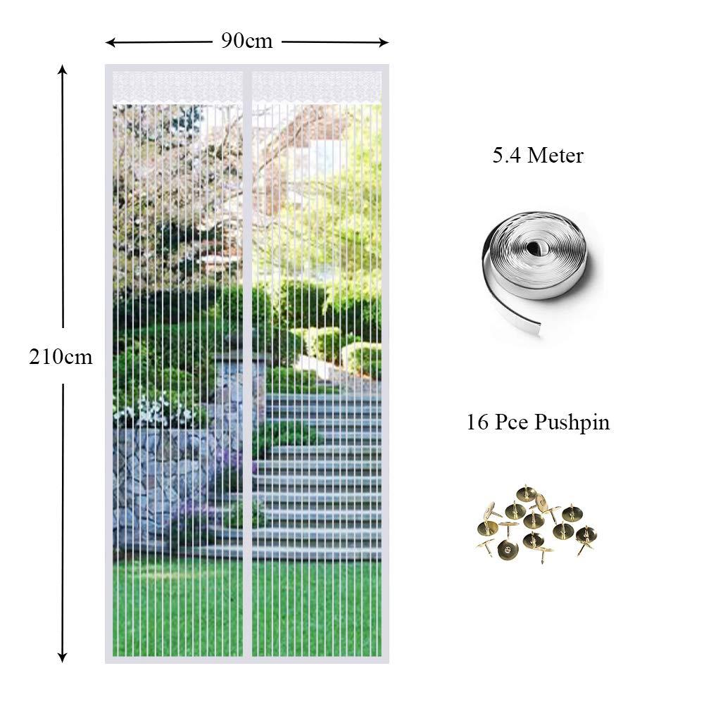Porte moustiquaire anti-insectes magn/étique emp/êche les moustiques dinsectes de p/én/étrer dans les insectes 90 x 210 cm-Noir Rideau de porte escamotable en tissu maill/é