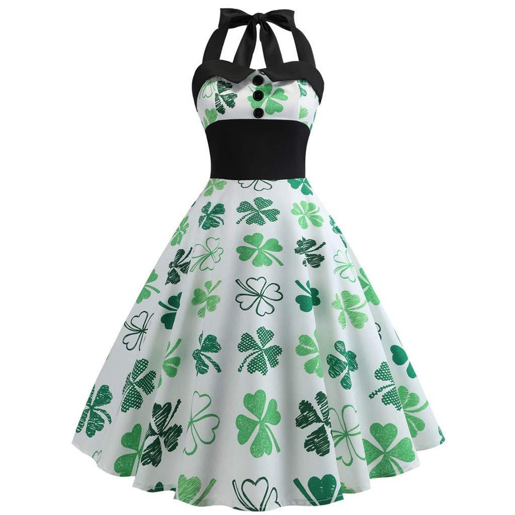 Women St. Patrick's Day Halter Sleeveless Evening Party Prom Swing Dress White