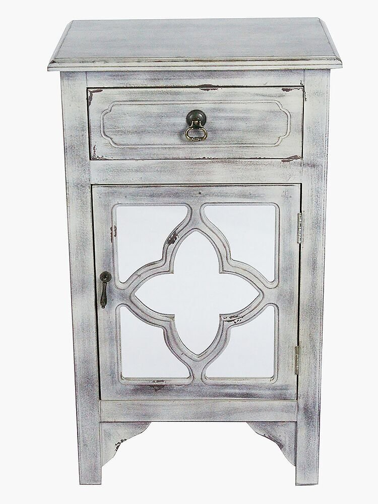 Heather Ann Creations The Frasera Collection Contemporary Style Wooden Single Door Floor Storage Living Room Accent Cabinet with 1-Drawer, White Wash by Heather Ann Creations