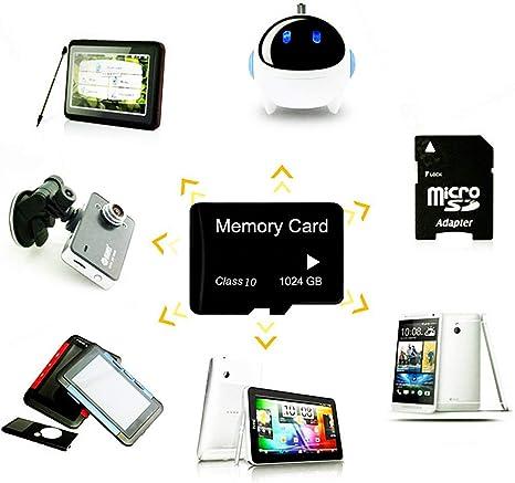 tablettes Classe 10 SDXC avec adaptateur Carte Micro SD haute vitesse 1024 Go con/çue pour les smartphones Android 1024 Go-B