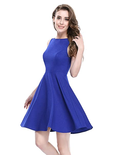 25b36e7b546 Alisa Pan Womens Casual Simple Fit and Flare Summer Dress 12 US Saphire  Blue at Amazon Women s Clothing store