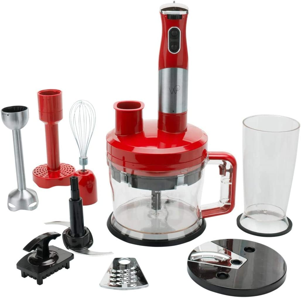 Wolfgang Puck 7-in-1 Immersion Blender with 12-Cup Food Processor Model 649-012 (Renewed)